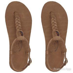 NWT rainbow braided t strap sandals